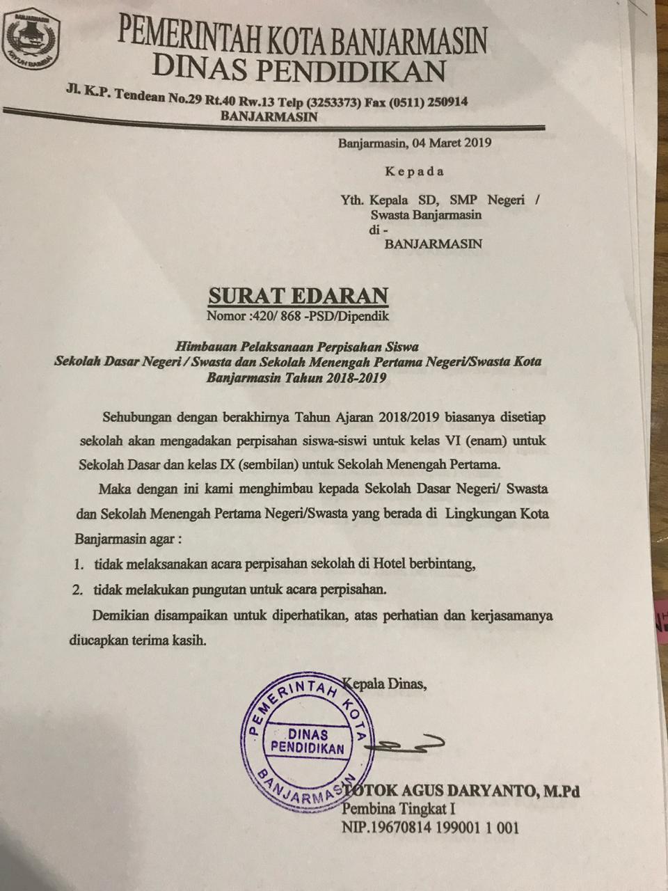 Surat Edaran Himbauan Pelaksanaan Perpisahan Siswa Dinas